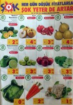 ŞOK 24 - 31 Ekim 2018 Meyve ve Sebze Fiyatları