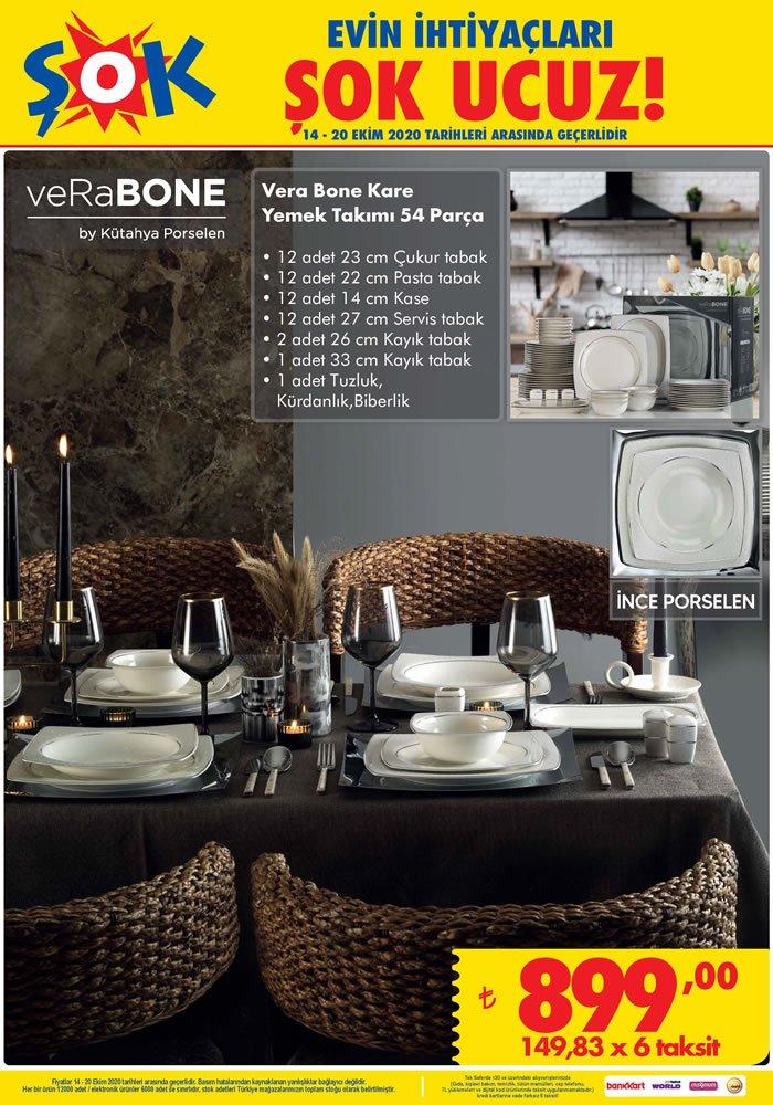 ŞOK Market 14 Ekim Çarşamba Vera Bone Kare Yemek Takımı