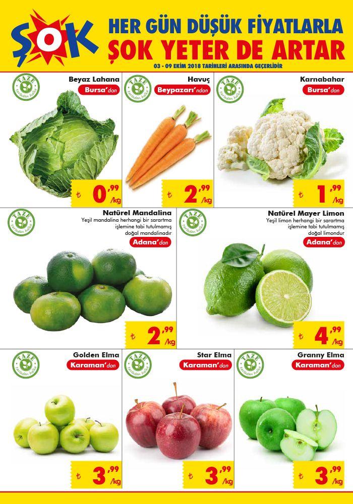 ŞOK Market 3 Ekim 2018 Broşürü - Sebze ve Meyve Fiyatları