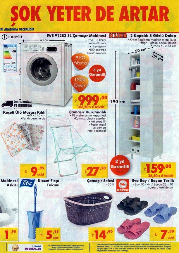 ŞOK Market 3 Ocak - 9 Ocak 2018 Broşürü - İndesit Çamaşır Makinesi