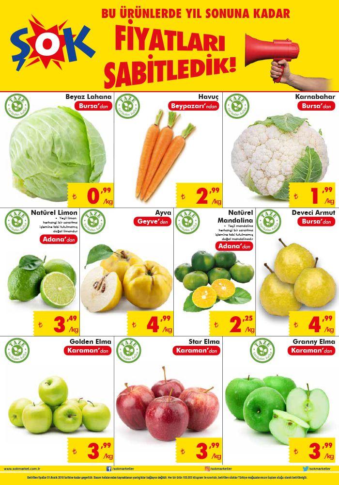 ŞOK Market Sebze ve Meyve Fiyatları - 2018