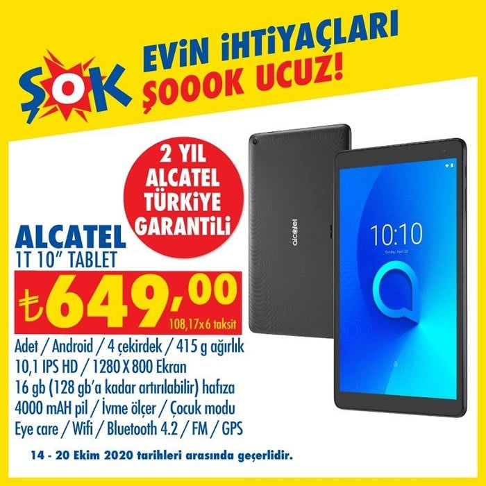 Alcatel 1T Tablet ( ŞOK 14 Ekim 2020 )