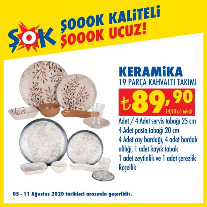 Keramika 19 Parça Kahvaltı Takımı ( Şok 5 Ağustos 2020 )